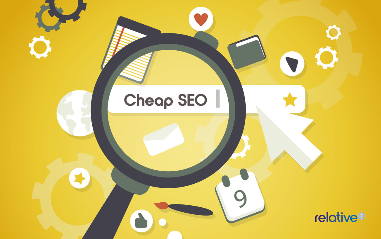 a graphic with magnifying glass hovering over the wording cheap seo